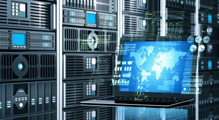 インターネットのビジュアル コンセプトは事実上高度なデータ処理の計算を行うサーバー ラックの背景を持つラップトップを接続