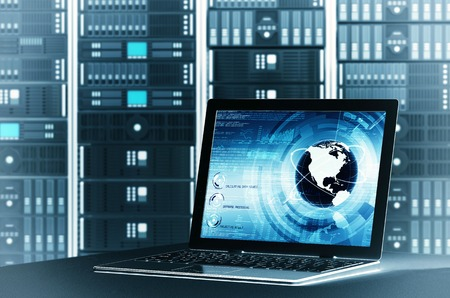 A concept of controlling  worlwide information sharing on a  server rackvia laptop interface  You can change the laptop screen to suit your need