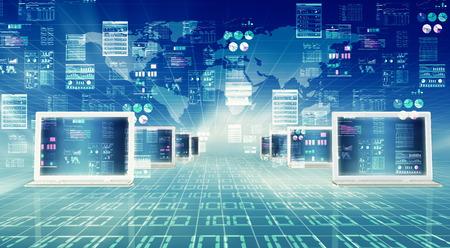 Illustratie van de laptop computer cennected tot wereldwijde internet netwerk en het doen van gegevensverwerking