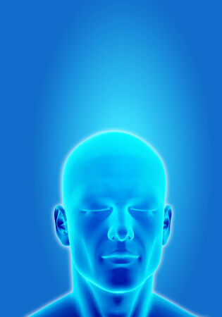 deep thought: Illustration of a man thinking in deep conscious on blue background Stock Photo
