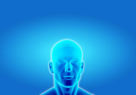 Illustration of a man thinking in deep conscious on blue background Stock Photo