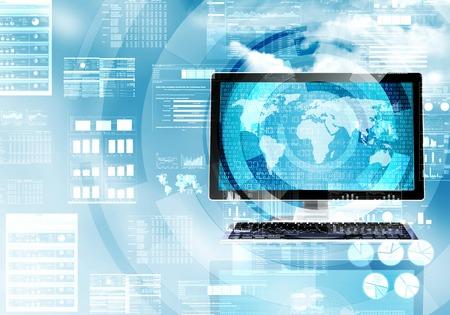 Illustratie van een computer doet een gegevensverwerking in de wereldwijde internet verbinding