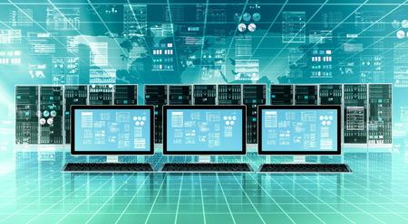 Computer aangesloten op de wereldwijde internet-server-netwerk en het doen van gegevensverwerking