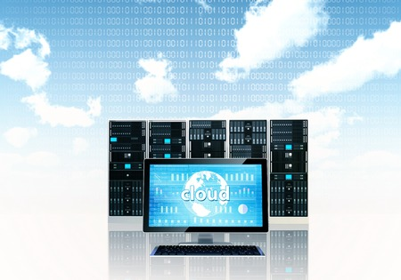 Cloud server concept with a monitor screen and a server rack on behind