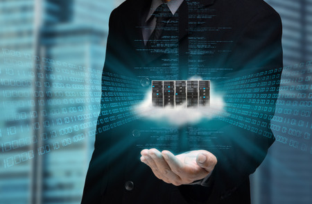 A businessman hand showing the concept  of cloud computing internet technology in his hand