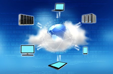 Cloud computing concept  Connecingt the world with internet technology 스톡 콘텐츠