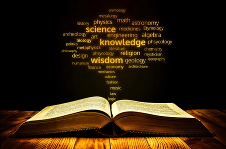 etymology: book of science concept with science branch name  coming out from it visualizing a figure of tree.