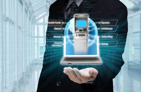 automatic transaction machine: Visualización del concepto de banca móvil o Internet basado