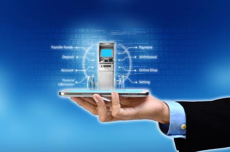 Visualisatie van mobiel of internet gebaseerde bankconcept Stockfoto