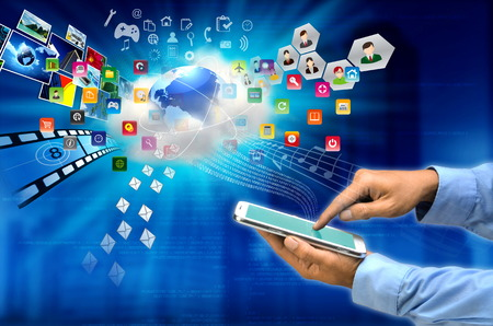 Conceptual image of a tablet user connect  his activity with a cloud server via internet 版權商用圖片