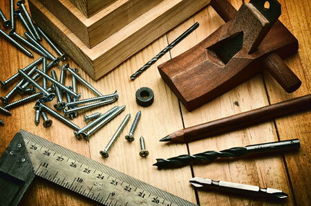 bits: Woodworking tools and equipment  in still life photography concept Stock Photo