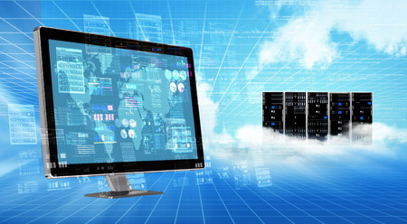 An internet cloud server computer doing data processing and calculating