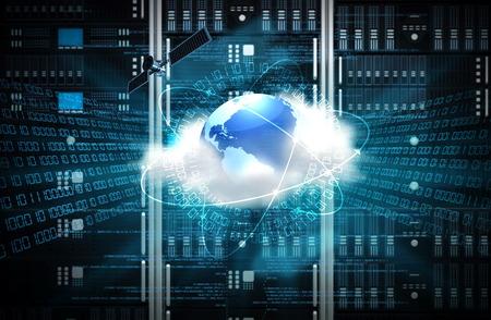 Concept van een internet-cloud server met server rack op de rug van de grond