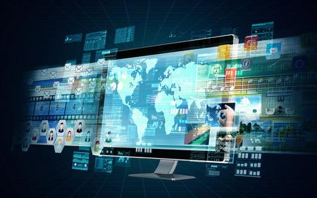Een multimedia internet server computer doet multimedia verwerking van het delen en berekenen Stockfoto