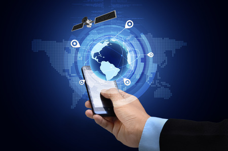 comunicazione: Immagine concettuale di Global Positioning System GPS su smartphone Archivio Fotografico