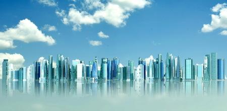 Futuristic city concept in blue sky background