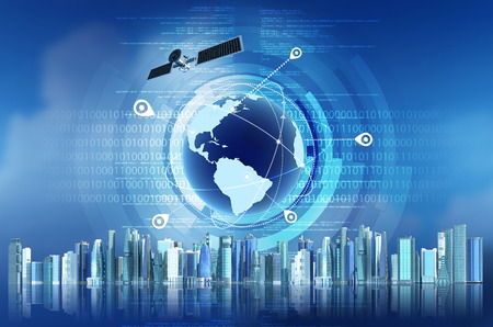 Conceptual image of Global Positioning System GPS with futuristic city background