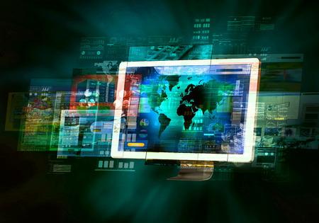고속 인터넷 연결로 모니터 화면에서 깜박이는 인터넷 웹 사이트 스톡 콘텐츠