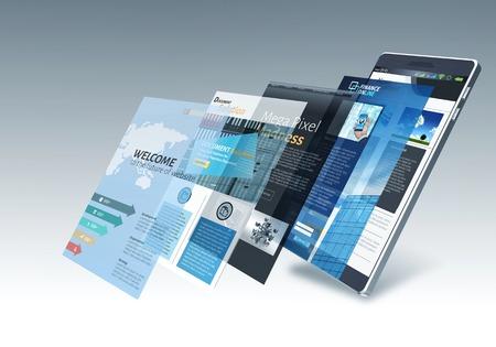 インターネットと画面を変更する複数のウェブサイトのページを持つスマート フォン