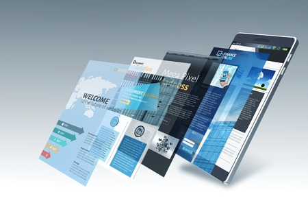 Smart phone with internet and multiple website pages changing on screen Standard-Bild