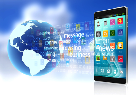 digital media: A smart phone connected to the internet downloading and sharing digital content and application software