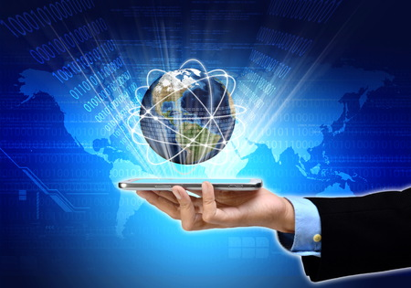 internet globe: The power of internet communication technology at hand