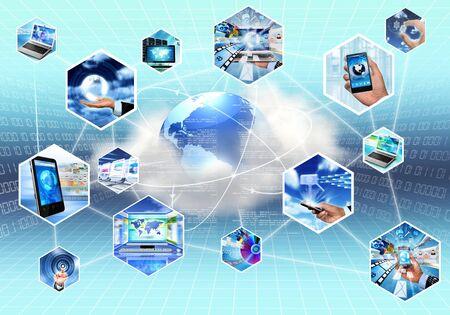 tecnología informatica: pcture concepto de Internet y la información Technolgy con la computación en nube Foto de archivo
