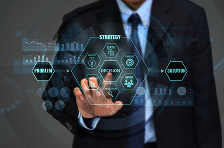 achievment: The concept of making corporate decision to solve business problem Stock Photo