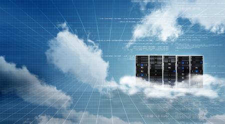 Concepto de tecnología de la información. Imagen conceptual del gabinete de servidor de la nube de Internet Foto de archivo