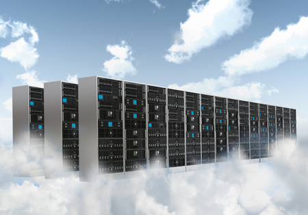 hosting: Information technology concept. Conceptual image of Internet Cloud server cabinet