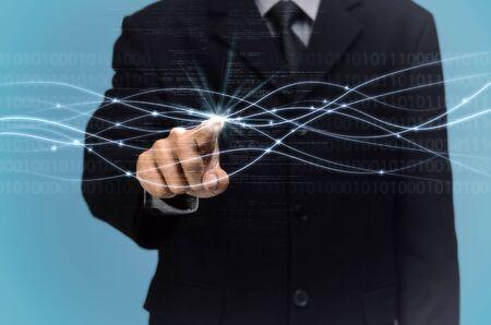 A man touching micro fiber connection. Internet conceptual image. Stock Photo