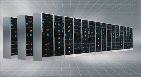 virtual server: Information technology concept. Conceptual image of Internet Cloud server cabinet
