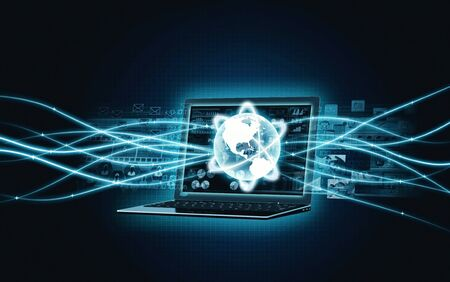 internet  broadband: Laptop with internet broadband network