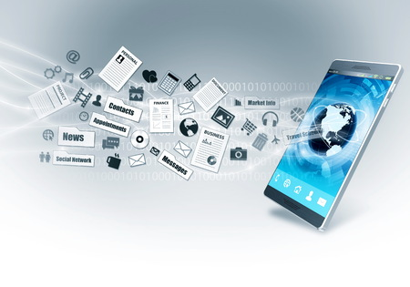 internet connection: Smart phone with internet connection as a device to acces multimedia information