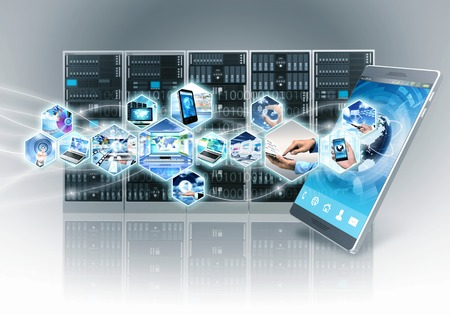 server technology: Conceptual image of internet and information technology with smart phone and server