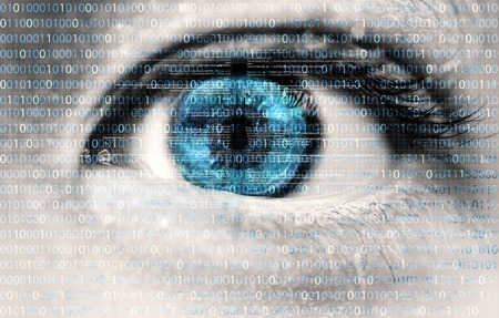 exposed: An innocent eye exposed to digital information flow from the internet