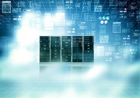 Cloud server concept met blauwe lucht en de concept