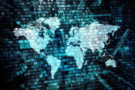 data processing: worldwide digital data processing concept