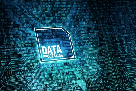 Data Processing Concept with motherboard and virtual processor. Stok Fotoğraf