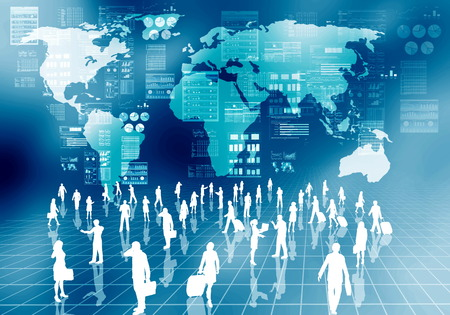 virtual world: Internet business people doing their activity  in virtual world of internet
