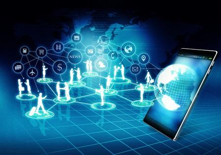 インター ネット ビジネス接続ネットワーク ビジネスマンとインターネットの仮想世界で彼らの活動をしている女性。 写真素材