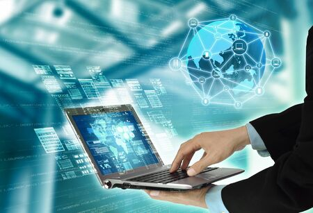 Internet Programming Technology Concept with laptop showing script and data process activity