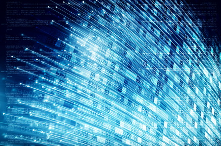 Internet data transmission via fiber optics concept Фото со стока