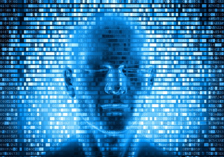 an 3d imaginariy face behind the internet data processing screen Stock Photo