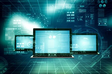 Internet and network connection concept between laptop computer Imagens
