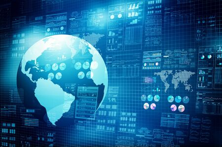Conceptual image of internet virtual data processing Stock Photo
