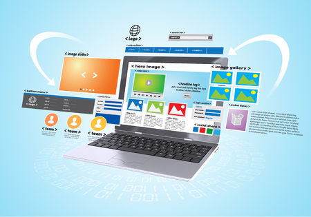 Conceptual image of Website design and development project in blue background Imagens