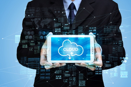 Businessman showing internet cloud technology concept for storage and backup