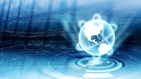 Internet concept with binary data and globe in virtual world