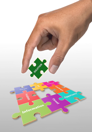 Conceptual images of business situation and finding the solution to fix problem with puzzle visualization. Фото со стока
